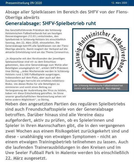 Fußball – Generalabsage durch den SHFV